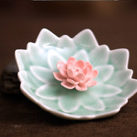 Lotus New-born Baby: Incense Burner / Candy Dish / Smoking bowl / Olive Plate ~ Table Decor ~ Geometric Leaf Plate