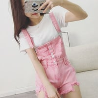 New Fashion Girl Denim Rompers Strap Pockets Frayed Ripped Holes Overalls Rompers Womens Jumpsuit Shorts Jeans D1187