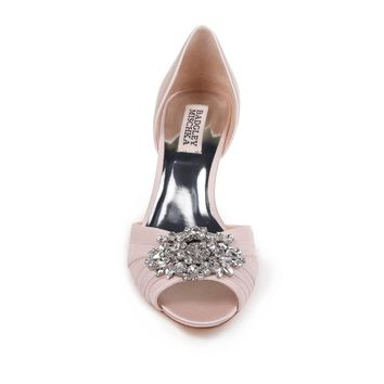 Badgley Mischka Lt Pink Satin Sabine Peep Toe Pump
