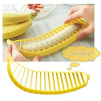 Kitchen Gadgets Plastic Banana Slicer Cutter Fruit Vegetable Tools Salad Maker Cooking Tools