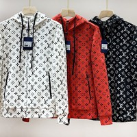 LV Louis vuitton hot selling fashion couple style full of LOGO hooded zipper jacket