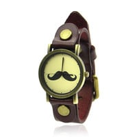 Leather Moustache Watch