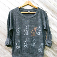nine lives Cat Pullover, Cat Sweater, Kitty Shirt, Slouchy Pullover, S,M,L,XL