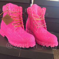 barbie pink glitter timberlands
