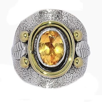Citrine Leaf Two Tone Sterling Silver Ring