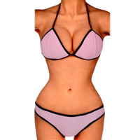 2016 New Sexy Summer Beach Womens Push Up Padded Bra Gathered Chest Bikini Set Swimsuit Swimwear 2/4/6 US Free Shipping
