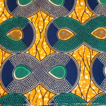 Dutch African Wax Print Fabric by the HALF YARD. Teal, Navy Blue, and Golden Yellow--Infinity Symbol