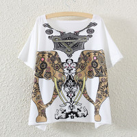 White Short Sleeve Golden Double Elephant Print T-Shirt