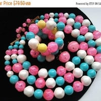 ON SALE Pink Yellow White Blue Jewelry Set, Vintage Lucite Necklace Set, Vintage Demi Parure, 3 Strand Necklace Bracelet Earring Set