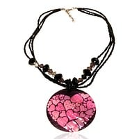 Abalone Beaded Statement Graphic Necklace pink Hearts