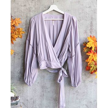 Free People - Dream Girl Plunging Wrap Top - Lavender
