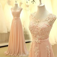 Floor Length Formal Evening Dress Gown  Elegant pink A-line lace chiffon maxi long dress women weddings prom party dress