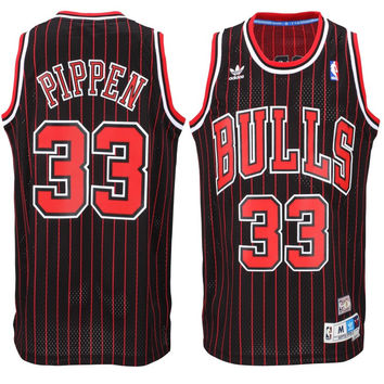 Chicago Bulls Scottie Pippen Throwback #33 Pinstripe Away Jersey