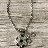 Personalized Girls Soccer Rhinestone Necklace with Letter Charm