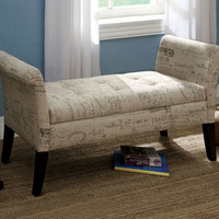 A.M.B. Furniture & Design :: Bedroom furniture :: Bedroom Benches :: Cupertino contemporary style french script ivory fabric with espresso finish wood legs tufted bedroom storage bench