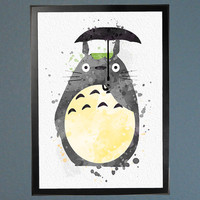 My Neighbor Totoro Watercolor Fine Art Print Wall Poster Home Decor Painting Giclee Illustration No 093