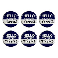 Terrell Hello My Name Is Plastic Resin Button Set of 6