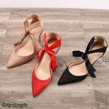 Fashion Selling Hollow Silk Satin High-heeled Shoes Tip-on Fine-heeled Strap-on Sandals