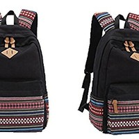 Hmxpls Unisex Fashionable Canvas Zip Bohemia Boho Style Backpack School College Laptop Bag for Teens Girls Boys Students, Black