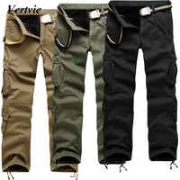 VERTVIE Brand Men Cargo Pants Winter Thick Warm Casual Pants Full Length Multi Pocket Military Baggy Tactical Trousers Plus Size