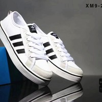 Adidas Clover Classic Canvas Shoes Wild Casual Shoes Trends Sports Shoes Lake blue B-SSRS-CJZX