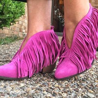 Santa Fe Fringe Booties - Hot Pink
