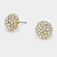 Crystal Pave Dome Stud Earrings