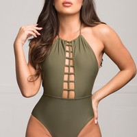 West Bay One Piece Swimsuit Olive