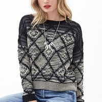 LOVE 21 Lattice-Patterned OmbrA(c) Sweater Black/Cream