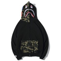 BAPE sells shark embroidery patchwork hats tops fashion couple casual jackets #3