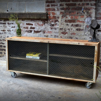 Salvaged Fir and Diamond Wire Glass Credenzas