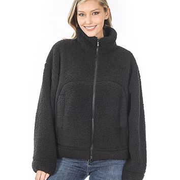 Soft Faux Fur Sherpa High Neck Full Zip Up Jacket with Pockets