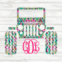 Lilly Pulitzer {inspired} Monogrammed Jeep   Jeep Monogram   Jeep Vinyl Decal   Lilly Pulitzer Car Decal   Jeep Decal   Lilly Pulitzer Jeep