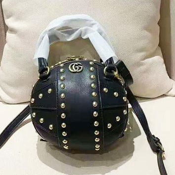 GUCCI Fashion temperament basketball styling rivet round bag  shoulder bag messenger bag
