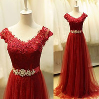 Cap Sleeve A-Line Red Prom Dresses