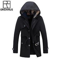 2018 New Brand Jacket Men Thick Coats Casual Spring Outwear Military Man Cotton Jackets Wool Overcoat Mens Parka Thermal X662