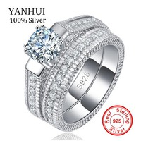 100% Real 925 Sterling Silver Rings Set Hearts and Arrows 1ct CZ Diamant Wedding Rings for Women Double Engagement Ring R121