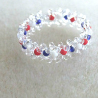 Beaded Ring, Red White and Blue Ring, Patriotic Ring, Independence Day, July 4th, Fourth of July, Patriotic Jewelry, Americana Jewelry
