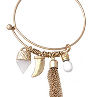 Triangle, Horn and Tassel Gold Plated Charm Bracelet