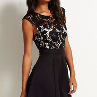 Lined Crochet Floral Upper Skater Dress # 290992