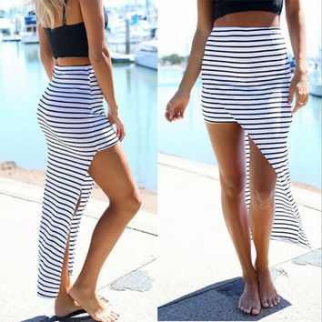 Socallife Striped Package Hip Bodycon Club Skirt - White