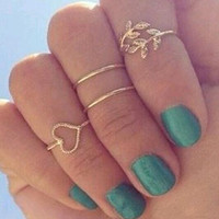 New 4 Set Rings Urban Gold Plated Crystal Plain Cute Above Knuckle Ring Band Midi Ring Set auger leaves 4 ring