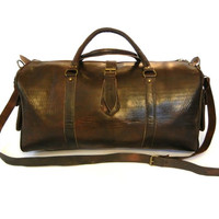 Leather Duffle Bag Travel Bag - Zip End Pockets