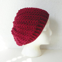 Wool Blend Lacy Slouch Beanie Hat in Cranberry, MADE TO ORDER.