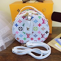 Louis Vuitton LV Rainbow Color Letter Print Round Mini Tote Bag Hot-selling fashion ladies one-shoulder messenger bag