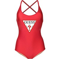 GUESS Tide brand women's simple solid color inverted triangle LOGO sexy one-piece swimsuit red