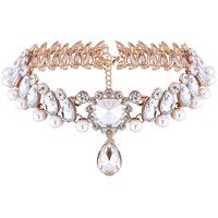 Waterdrop Rhinestone Faux Pearl Cut Out Chokers