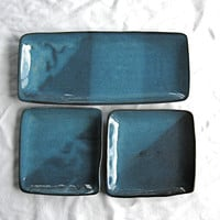 Sushi Serving Dishes in Ocean Blue - 7 Piece Serving Set for Two, OOAK