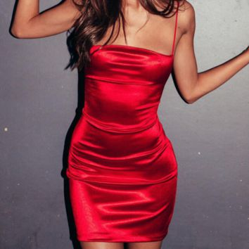 Women's Sexy Strap Wild Strapless Halter Dress red