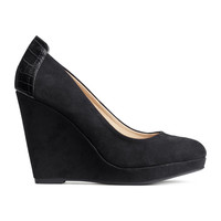 H&M - Wedge-heeled Shoes - Black - Ladies